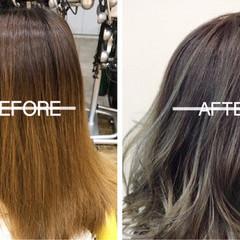 外国人風カラー ハイライト セミロング グラデーションカラー ヘアスタイルや髪型の写真・画像