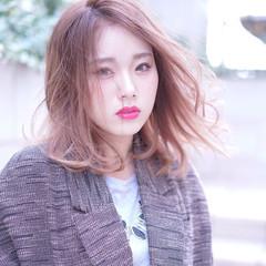 ゆるふわ ミディアム ヘアアレンジ 渋谷系 ヘアスタイルや髪型の写真・画像