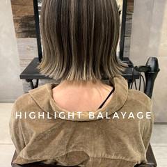 3Dハイライト ハイライト ストリート ミニボブ ヘアスタイルや髪型の写真・画像