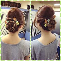 編み込み 和装 ヘアアレンジ セミロング ヘアスタイルや髪型の写真・画像