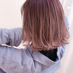 ハイライト 3Dハイライト ピンク ボブ ヘアスタイルや髪型の写真・画像