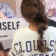 ロング スポーツ ヘアアレンジ フェミニン ヘアスタイルや髪型の写真・画像