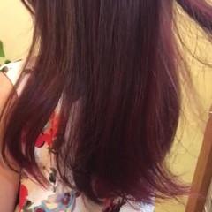 レッド ピンク ベリーピンク ロング ヘアスタイルや髪型の写真・画像