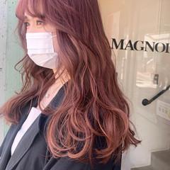 エアウェーブ パーマ ベリーピンク ラズベリーピンク ヘアスタイルや髪型の写真・画像