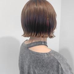 切りっぱなしボブ ボブ インナーカラー ミニボブ ヘアスタイルや髪型の写真・画像