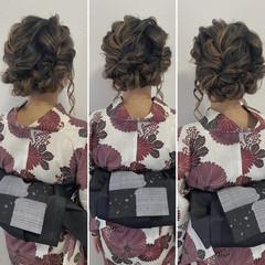 ボブ 浴衣ヘア ヘアセット フェミニン ヘアスタイルや髪型の写真・画像