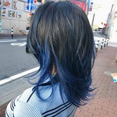 外ハネ 韓国ヘア 外国人風カラー ネイビーブルー ヘアスタイルや髪型の写真・画像