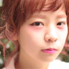 ミディアム ブリーチ ピンク ガーリー ヘアスタイルや髪型の写真・画像