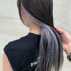 インナーカラー セミロング インナーカラーホワイト ホワイトカラー ヘアスタイルや髪型の写真・画像