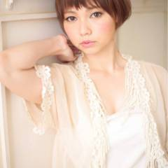丸顔 モテ髪 コンサバ ショート ヘアスタイルや髪型の写真・画像