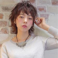外国人風 モード パーマ 暗髪 ヘアスタイルや髪型の写真・画像