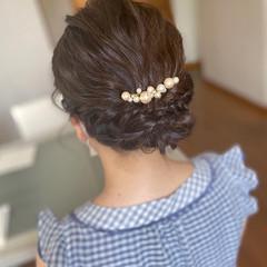 ミディアム アップスタイル ナチュラル 結婚式ヘアアレンジ ヘアスタイルや髪型の写真・画像