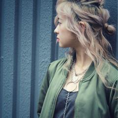 簡単ヘアアレンジ ハーフアップ ショート 外国人風 ヘアスタイルや髪型の写真・画像
