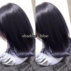 ストリート ブルーブラック ネイビーブルー ヘアカラー ヘアスタイルや髪型の写真・画像