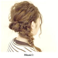 波ウェーブ 編み込み 大人かわいい 四つ編み ヘアスタイルや髪型の写真・画像
