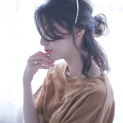 ミディアム 簡単ヘアアレンジ ショート ゆるふわ ヘアスタイルや髪型の写真・画像