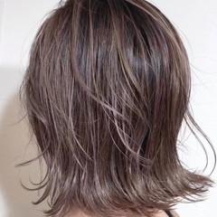 フェミニン 切りっぱなしボブ ハイライト コントラストハイライト ヘアスタイルや髪型の写真・画像