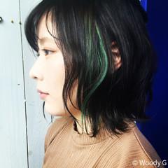 かくれんぼ かくれんぼカラー ガーリー 外ハネ ヘアスタイルや髪型の写真・画像
