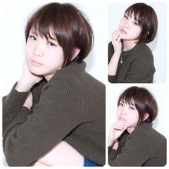 ショート アッシュ ショートボブ 暗髪 ヘアスタイルや髪型の写真・画像