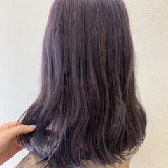 バイオレットカラー ブルーバイオレット ストリート セミロング ヘアスタイルや髪型の写真・画像