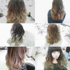 ブラウンベージュ グラデーションカラー アッシュ 外国人風 ヘアスタイルや髪型の写真・画像