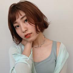 ガーリー ミニボブ 外ハネ アプリコットオレンジ ヘアスタイルや髪型の写真・画像
