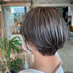 ナチュラル 透明感カラー ハイライト ショートヘア ヘアスタイルや髪型の写真・画像