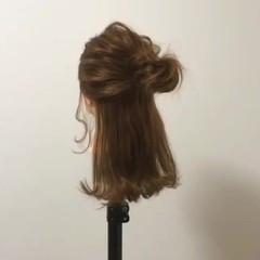 簡単ヘアアレンジ セミロング ショート ハーフアップ ヘアスタイルや髪型の写真・画像