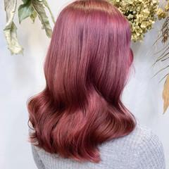 ベリーピンク ピンクアッシュ ピンクパープル ピンク ヘアスタイルや髪型の写真・画像