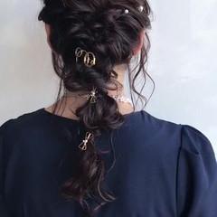 編み込み ヘアアレンジ ロング ナチュラル ヘアスタイルや髪型の写真・画像