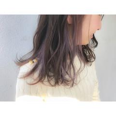外ハネ インナーカラー ワンカール デート ヘアスタイルや髪型の写真・画像