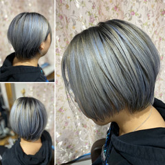 アッシュグレージュ モード ショート ネイビーアッシュ ヘアスタイルや髪型の写真・画像
