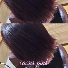 ヘアカラー ピンクアッシュ 裾カラー ボブ ヘアスタイルや髪型の写真・画像