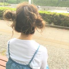 ガーリー 簡単ヘアアレンジ アンニュイ ミディアム ヘアスタイルや髪型の写真・画像