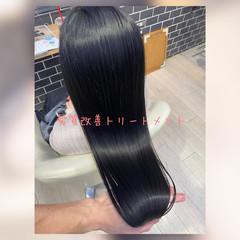 暗髪女子 暗髪 髪質改善トリートメント ナチュラル ヘアスタイルや髪型の写真・画像
