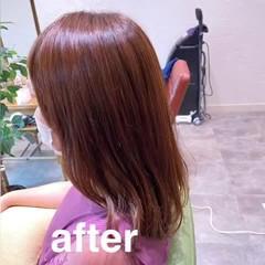 ナチュラル セミロング オレンジ アプリコットオレンジ ヘアスタイルや髪型の写真・画像