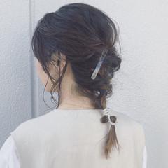 フェミニン 簡単ヘアアレンジ ミディアム ヘアアレンジ ヘアスタイルや髪型の写真・画像