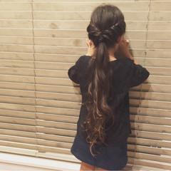 ナチュラル 子供 ヘアアレンジ ロング ヘアスタイルや髪型の写真・画像