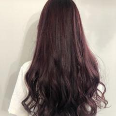 ピンクパープル 透明感カラー ピンクバイオレット ロング ヘアスタイルや髪型の写真・画像