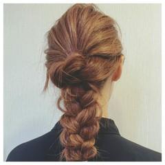 大人かわいい ヘアアレンジ ロング 三つ編み ヘアスタイルや髪型の写真・画像