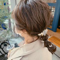 結婚式ヘアアレンジ 簡単ヘアアレンジ オリーブベージュ ヘアアレンジ ヘアスタイルや髪型の写真・画像