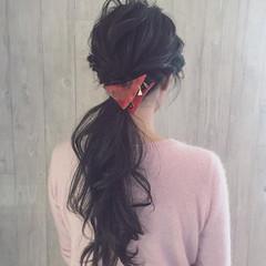大人女子 ロング ポニーテール 三角クリップ ヘアスタイルや髪型の写真・画像