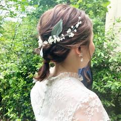 ヘアアレンジ 編みおろし 結婚式 ミディアム ヘアスタイルや髪型の写真・画像