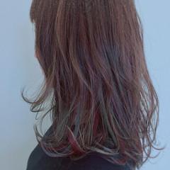 セミロング ガーリー 大人かわいい ローライト ヘアスタイルや髪型の写真・画像
