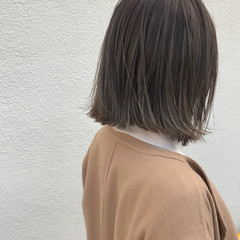 外ハネ ロブ ナチュラル ハイライト ヘアスタイルや髪型の写真・画像