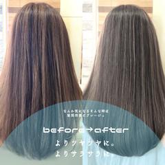 ストレート 前髪 セミロング 髪質改善 ヘアスタイルや髪型の写真・画像