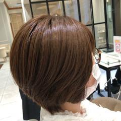 ブラウンベージュ ショートボブ 大人かわいい ショート ヘアスタイルや髪型の写真・画像