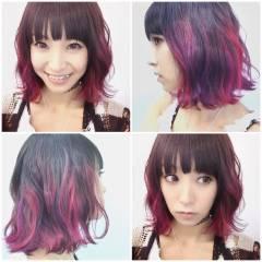 グラデーションカラー マルサラ 外国人風 ガーリー ヘアスタイルや髪型の写真・画像