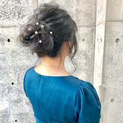 パーティ 結婚式 フェミニン 簡単ヘアアレンジ ヘアスタイルや髪型の写真・画像