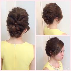 ヘアアレンジ 結婚式 セミロング 編み込み ヘアスタイルや髪型の写真・画像
